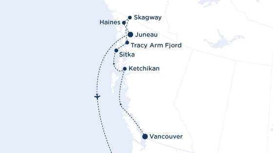 Vancouver to Juneau Cruise Map