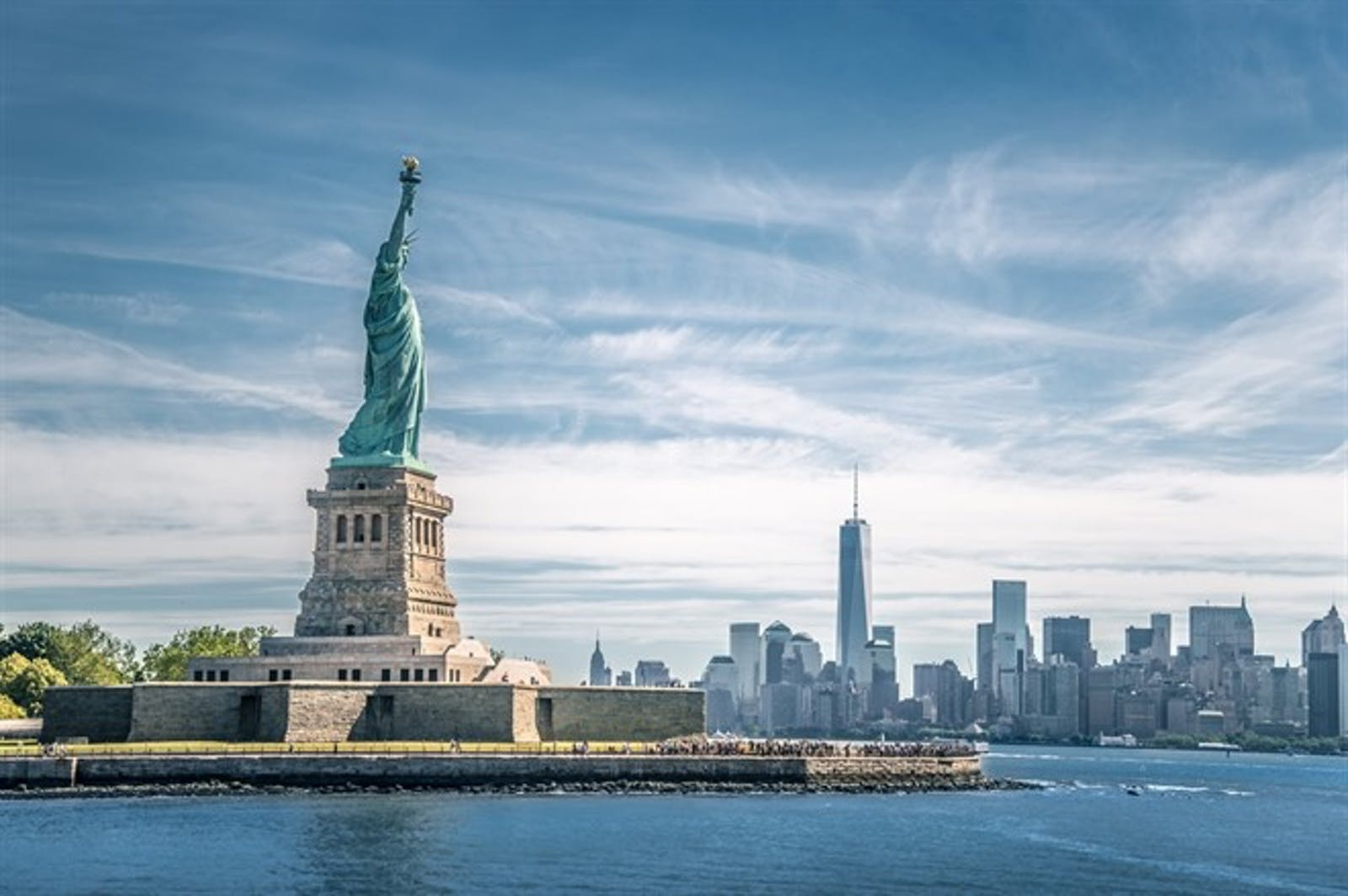 Statue Of Liberty & New York Skyline