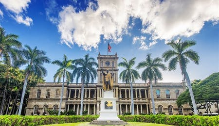 King Kamehameha Statue Across from Iolani Palace In Historic Downtown Honolulu