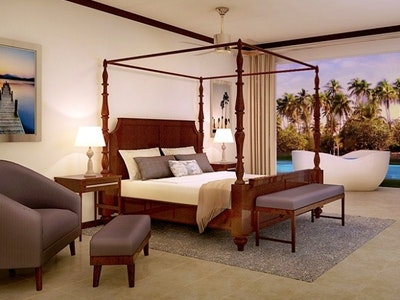 South Seas Waterfall River Pool Junior Suite with Patio Tranquillity Soaking Tub