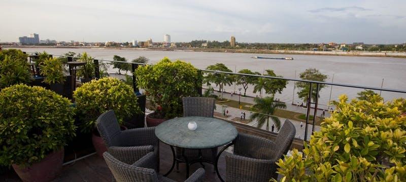 River View from Le Moon Terrace Bar at Amanjaya Pancam Hotel, Cambodia