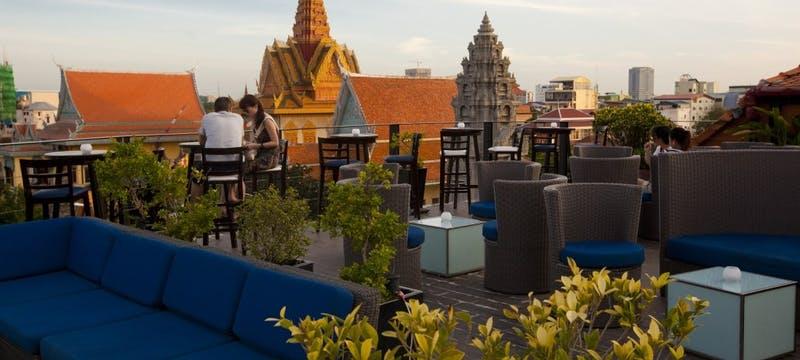 Le Moon Terrace Bar Pagoda View at Amanjaya Pancam Hotel, Cambodia