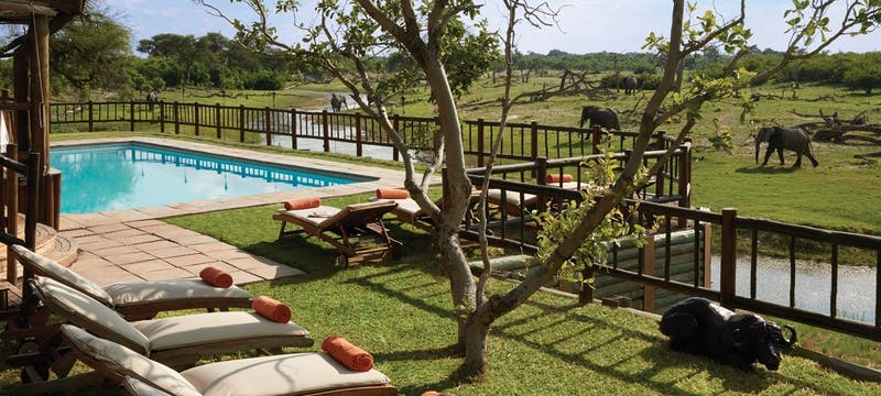 Swimming pool area at Belmond Savute Elephant Lodge, Chobe National Park