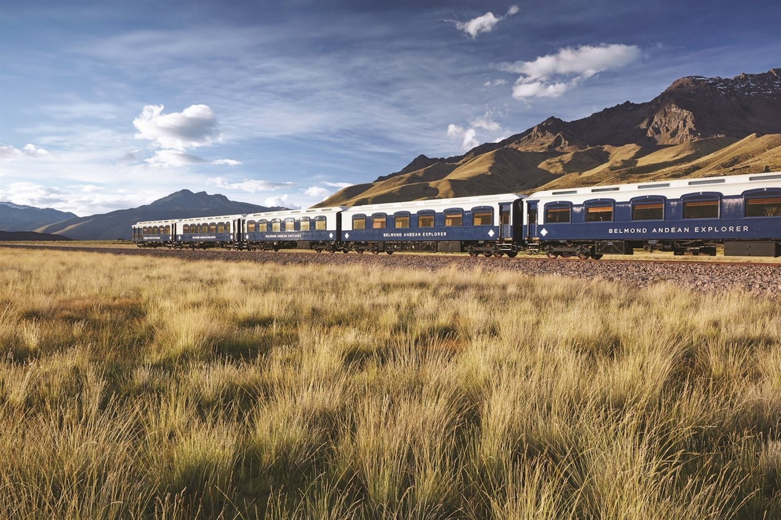 view of train, Andean Explorer, A Belmond Train, Peru