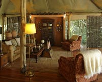 Interior of room at &Beyond Bateleur Camp
