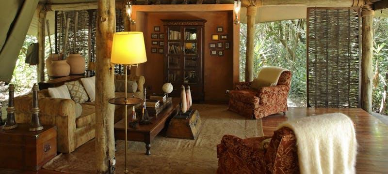 Interior of room at &Beyond Bateleur Camp