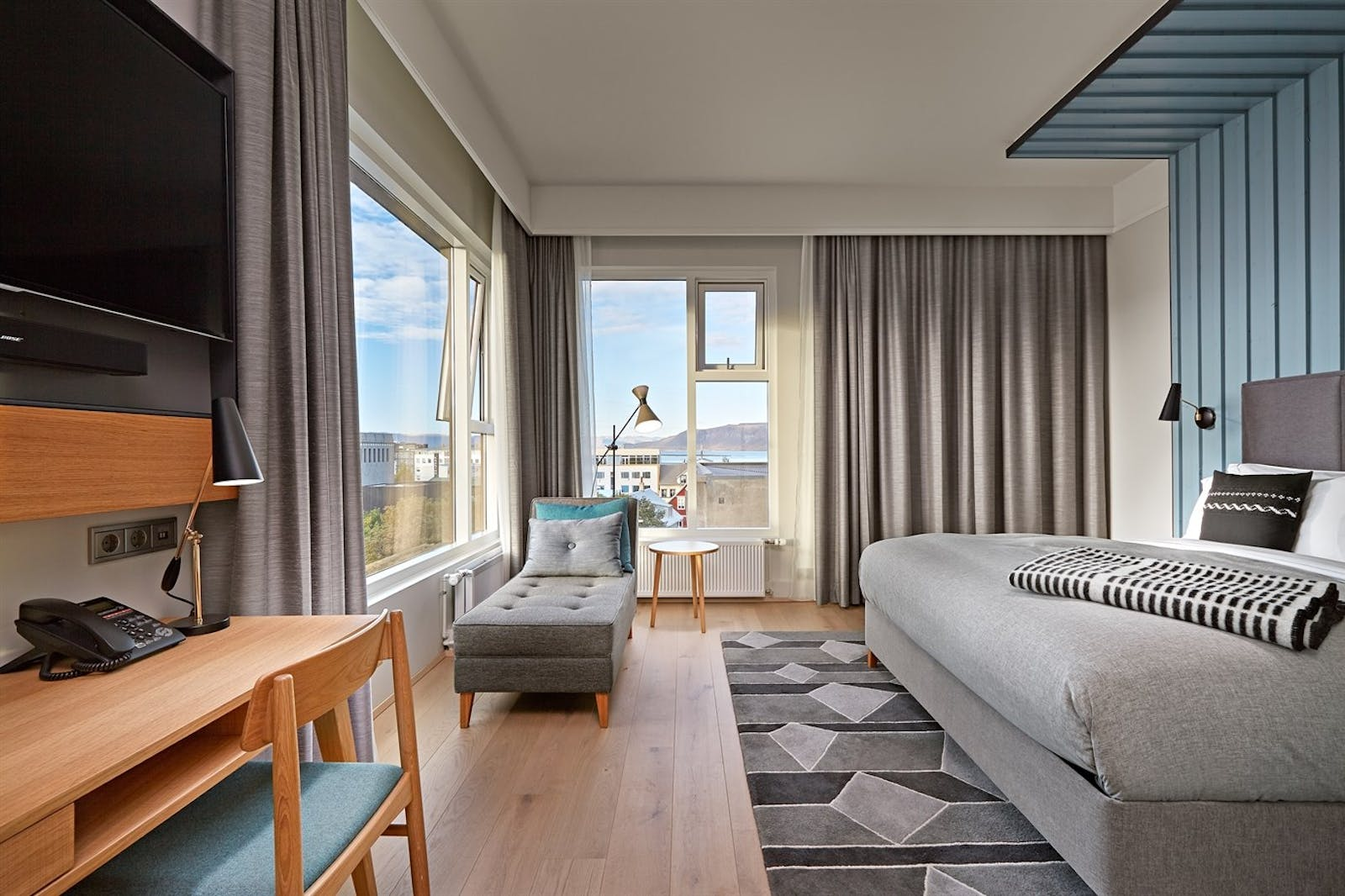King Premium Room with Sea View, Canopy by Hilton Reykjavik Hotel, Iceland