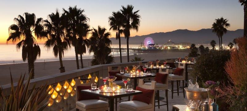 Dining next to the shore at Casa del Mar