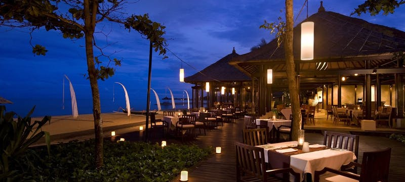 Restaurant in the evening at Conrad Bali