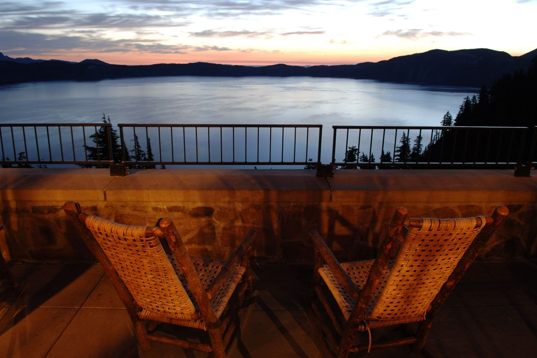 Beautiful view from Balcony at Crater Lake Lodge (Crater Lake National Park)