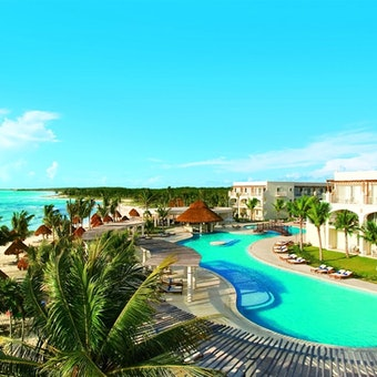 Overview of Swimming Pool, Resort and Beach at Dreams Tulum