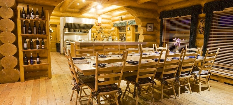 Dining Room and Open Kitchen At Dove Lodge