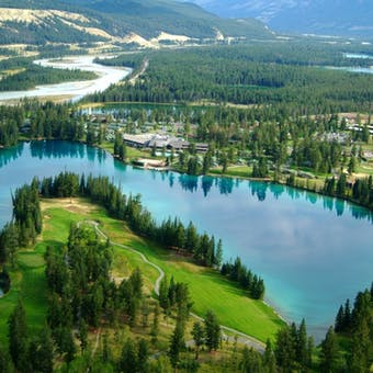 Aerial View Of Fairmont Jasper Park Lodge