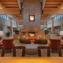 Beautiful fireplace at The Scott Resort & Spa