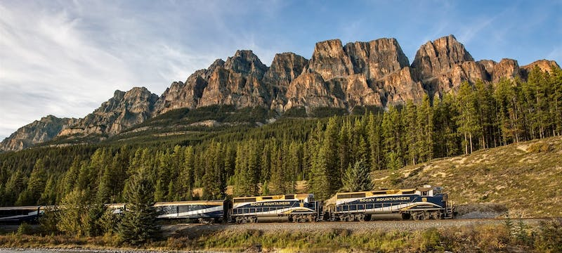 Rocky Mountaineer passing Castle Mountain