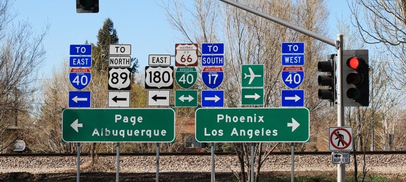 Route 66 signs in Flagstaff, Arizona
