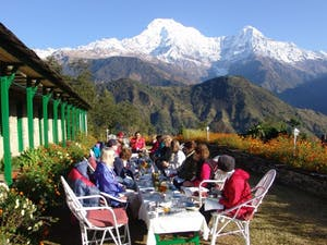 Outdoor dining area at Ker and Downey Lodges, Nepal