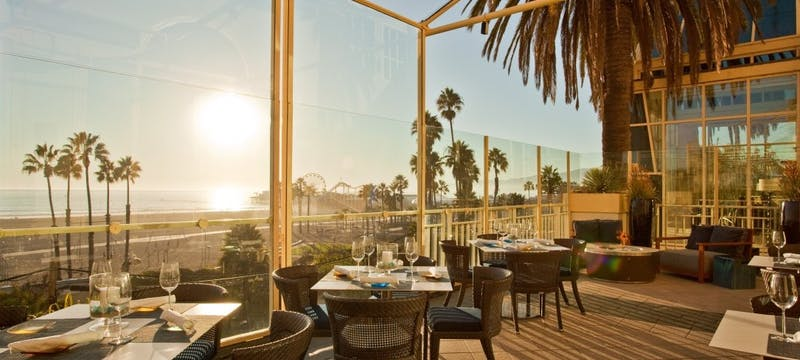 Restaurant overlooking the shore at Loews Santa Monica Beach Hotel