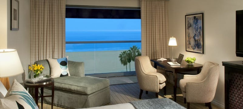 Bedroom with ocean view at Loews Santa Monica Beach Hotel