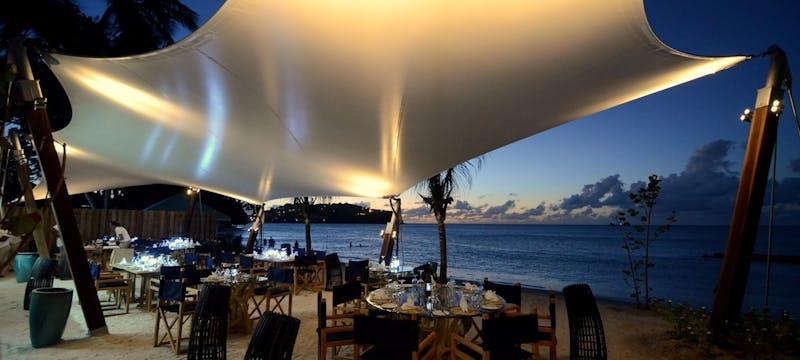 Beach front dining at the Malabar Beach Club