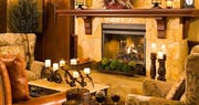 Beautiful fireplace at River Terrace Inn, A Noble House Hotel