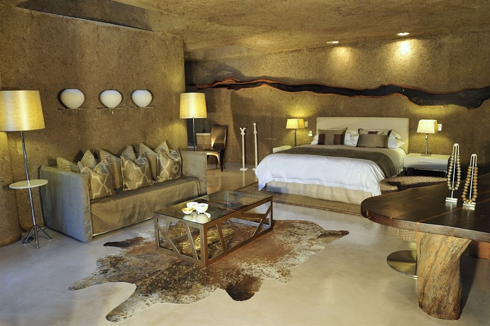 Bedroom area at Sabi Sabi Earth Lodge, South Africa