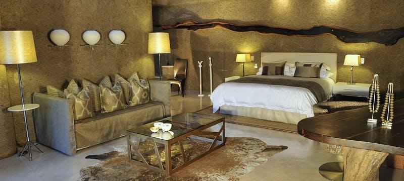 Bedroom area at Sabi Sabi Earth Lodge, South Africa