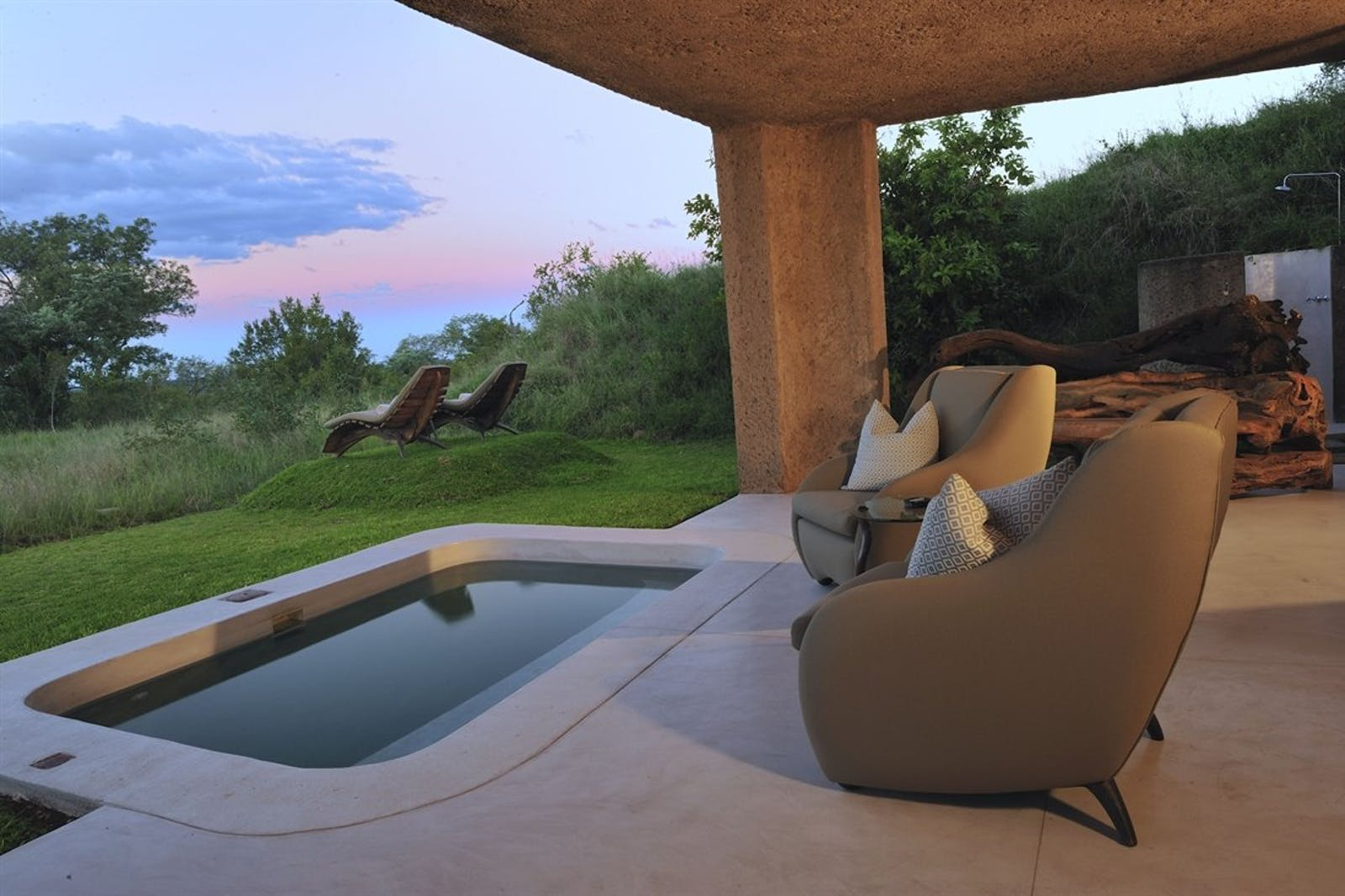 Private deck area at Sabi Sabi Earth Lodge, South Africa
