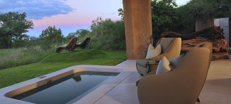 Private deck area at Sabi Sabi Earth Lodge, South Africa