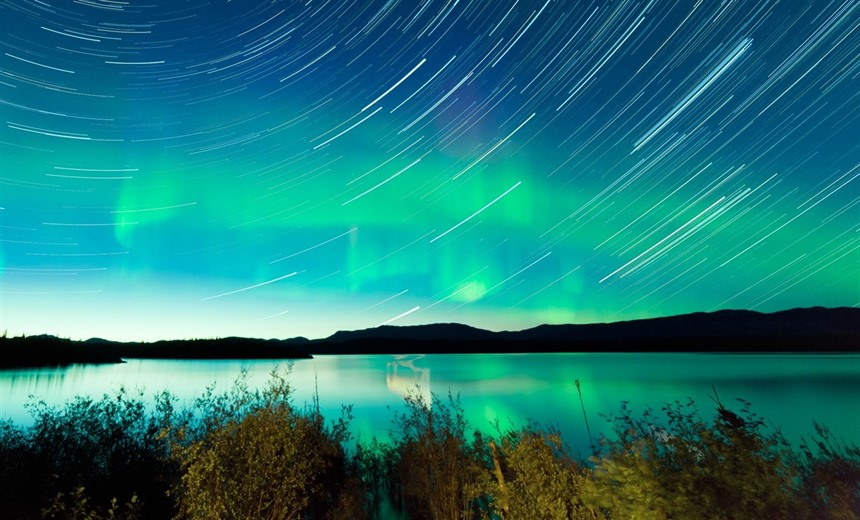 Northern lights and star trails, Lake Laberge