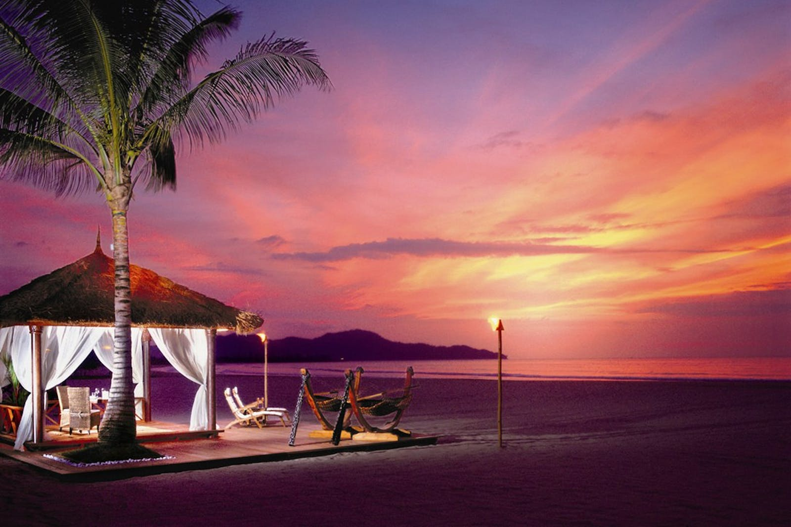 Beautiful sunset at Shangri La Rasa Ria Resort, Borneo
