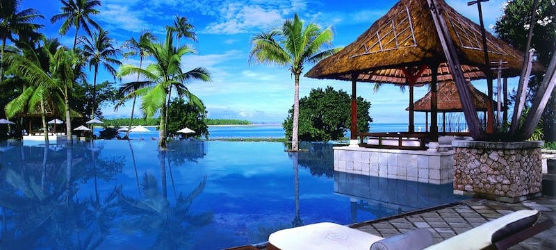 Swimming pool area  at The Oberoi Lombok