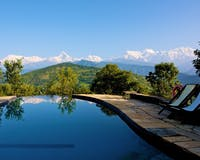 Swimming pool at Tiger Mountain Lodge, Nepal